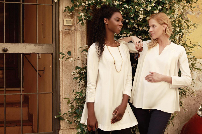 two women wearing maternity fashion womenswear tops